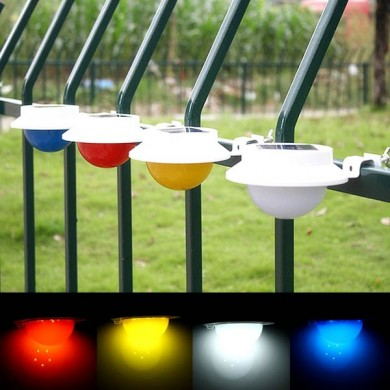 Garden Solar Power 5 White LED Fence Lamp Wall-mounted Courtyard Lawn Decor Wall Light