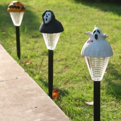 2pcs Halloween Ghost Pumpkin White LED Lights Garden Courtyard Holiday Decoration Lamp