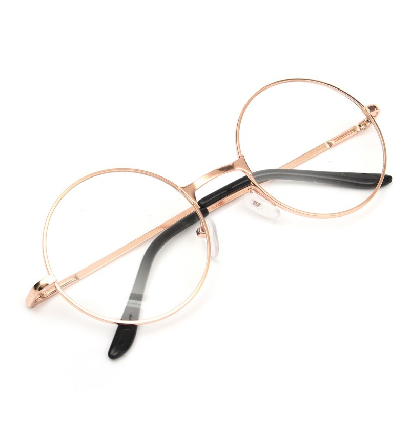 6a98b14f5d Unisex Polycarbonate Round Oval Metal Rim Plain Glasses Vintage Eyeglasses  For Men Women