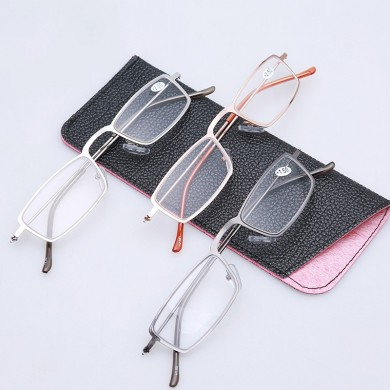 Unisex Metal Frame HD Resin Anti-Fatigue Reading Glasses