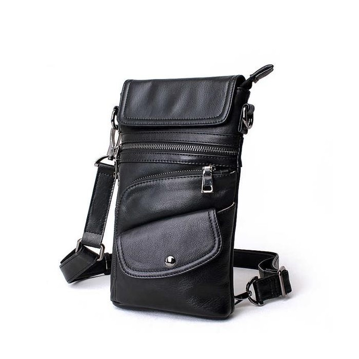 bd7542b3e087 Bullcaptain® Men Genuine Leather Multifunction Crossbody Bag Shoulder Bag  Chest Pack Waist Bag