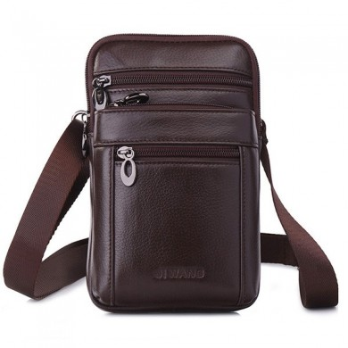 Men Business Casual Genuine Leather Waist Bag Crossbody Bag