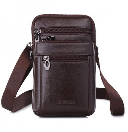 Uomo Business Casual Vera Pelle Vita Borsa Crossbody Borsa
