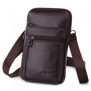 Genuine Leather Business Casual7 Inch Phone Bag Waist Bag