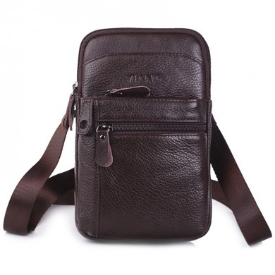 Genuine Leather Multi-functional 7 Inch Phone Bag Waist Bag