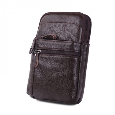 Multi-functional Genuine Leather 7 Inch Phone Bag Waist Bag