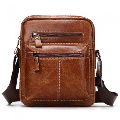Genuine Leather Business Casual Crossbody Bag For Men