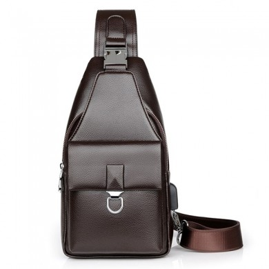 Men Faux Leather Crossbody Bag Business Shoulder Bag