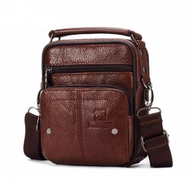 Men Genuine Leather Messenger Bag Small Luxury Zipper Bag