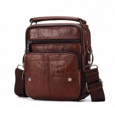 FUZHINIAO Men Genuine Leather Messenger Bag Shoulder Bag