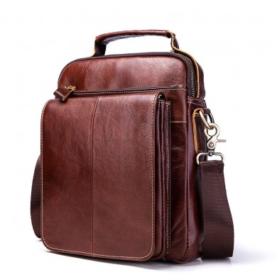GZCZ Men Genuine Leather Vintage Zipper Crossbody Bag