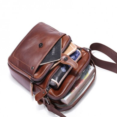 Men Genuine Leather Business Shoulder Bag Crossbody Bag