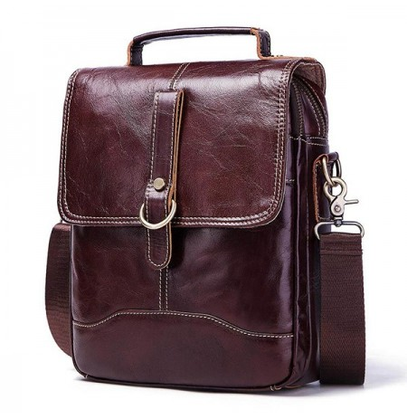 GZCZ Men Genuine Leather Business Shoulder Bag Retro Handbag