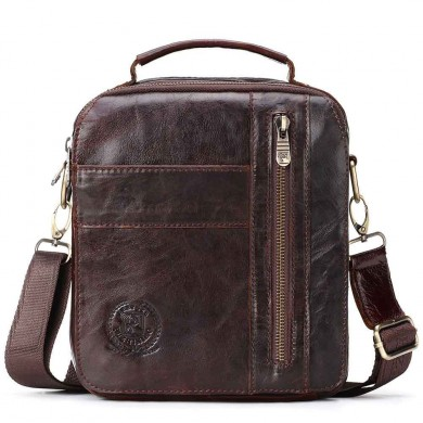 Men Genuine Leather Vintage Business Crossbody Bag