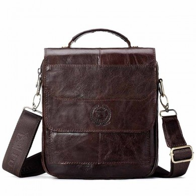 FUZHINIAO Men Genuine Leather Retro Messenger Bag