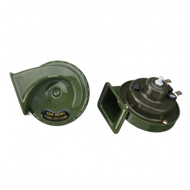 Pair 12V 115dB Super Loud Car Motorcycle Dual Tone Electric Snail Horn Green