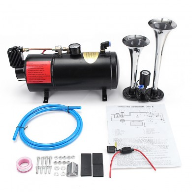 Truck Train 2 Trumpet Air Horn Kit Loud Dual 180 PSI 12V 3L Compressore d'aria nero