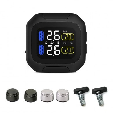 CAREUD M3 TPMS Waterproof Tire Pressure Monitor System LCD Display Motorcycle Real Time Wireless