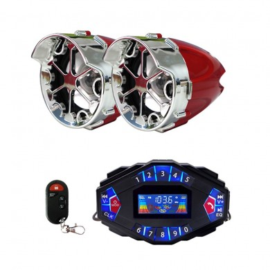 2.1A Multifunctional Motorcycle Blue Tooth Music Audio Speaker With LCD Screen Player Clock