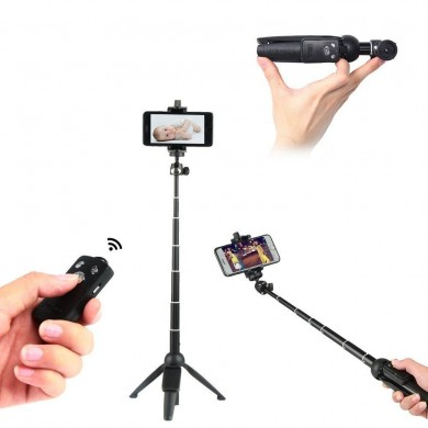 YUNTENG 992 Wireless Bluetooth Remote Handheld Monopod Mini Tripod Phone Selfie Stick