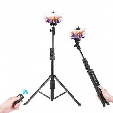 YUNTENG VCT-1388 Aluminum Tripod Selfie Stick with Phone Hoder Remote Control for Mobile Phone