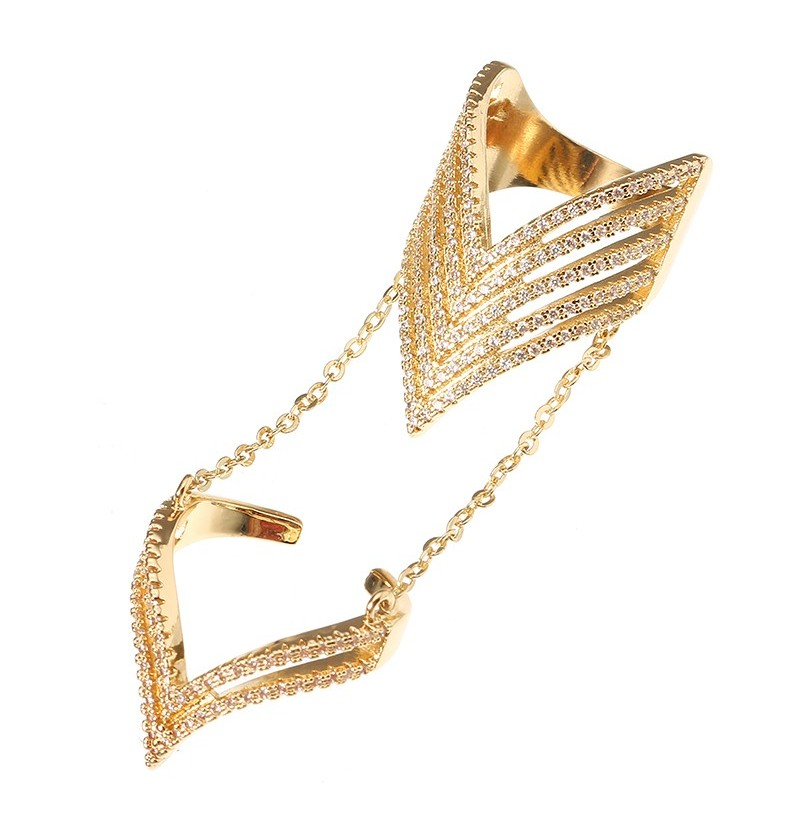 24K Gold Plated Punk Arrow Shape Chain Linked Two Rings Statement Sparkling Zircon Jewelry for Women (Size(US): 7) фото