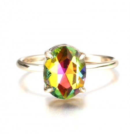 Simple Adjustable Crystal Open Ring Colorful Gemstone Gold