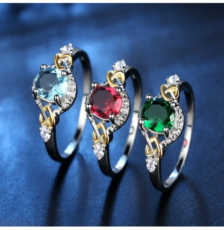 Fashion Finger Rings Double Cuore Colorful Anello Micro Zircon