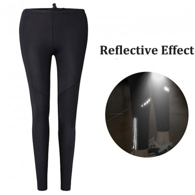 Women Fitness Reflective Running Pants Night Jogging Tights Yoga Leggings Quick Dry Trousers