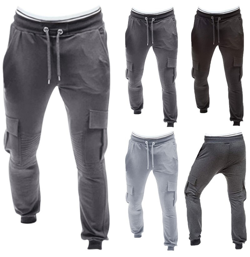 Men Gym Sport Running Baggy Pant Jogging Slim Fit M-3XL Casual Cargo Trousers (Color: Dark Grey, Size: XL) фото