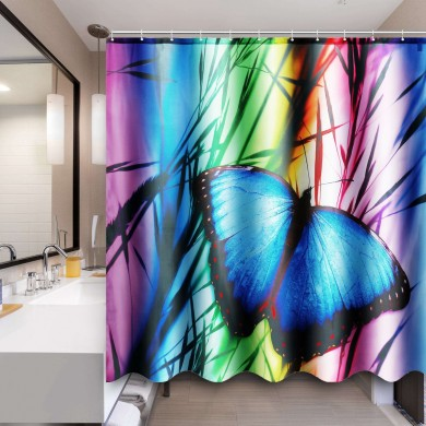 71''x71'' Buterfly Bathroom Bath Anti-Rust Shower Curtain Waterproof With 12 Hooks