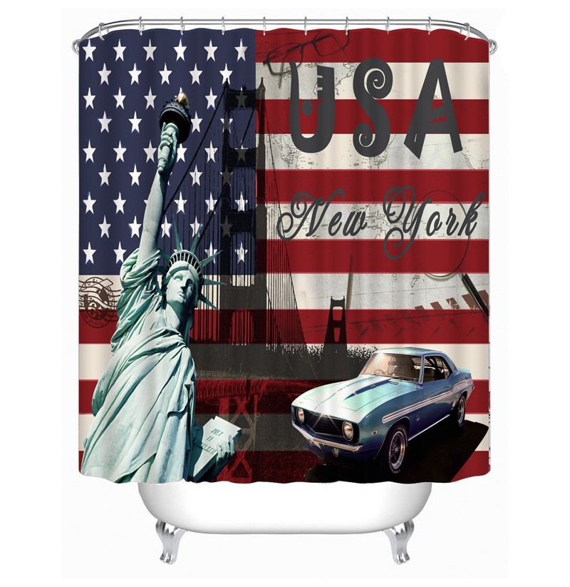 72x72 -Inch Completely Polyester Colormix Car Series Shower Curtains with 12 Rings (Number: 11) фото
