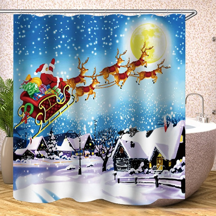 180x180cm Christmas Santa Claus Reindeer Bathroom Shower Curtains With 12 Hooks