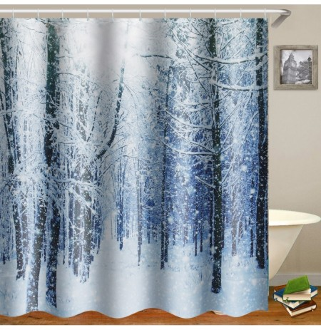 180x180cm Waterproof Tree Shower Curtain Digital Art Bathroom With 12Pcs Hooks Home Decor
