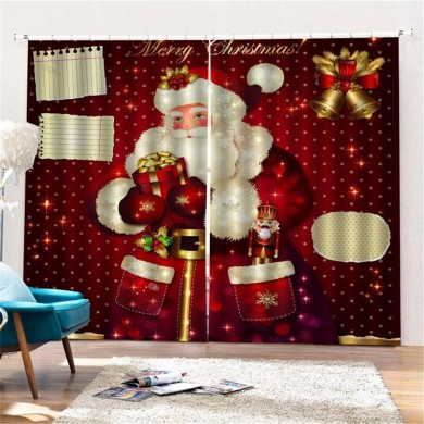 Custom Merry Christmas Fabric Polyester Santa Claus Waterproof Bathroom Shower Curtain