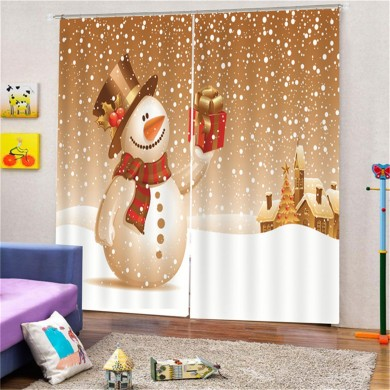 Merry Christmas Bathroom Set Snowman Pattern Waterproof Shower Curtain Toilet Cover Mat Non Slip Rug