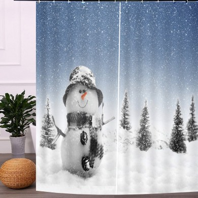 2PCS 3D Shower Curtain Print Window Curtain Door Screen Panel for Christmas Decoration