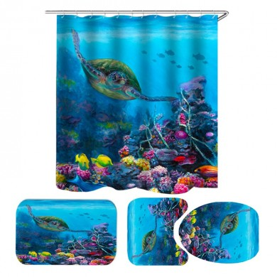 Sea Turtle Waterproof Shower Curtain Home Bathroom Curtains Polyester Fabric Bath Curtain