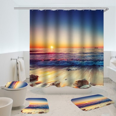 Waterproof Shower Curtain Non-Slip Rug Three Set  Bathroom Decor Blue Ocean Sunset