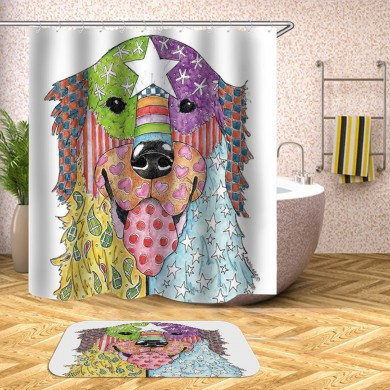 180 x 180CM Shower Curtain Dog Pattern Print Waterproof Polyester Bathroom Shower Curtain
