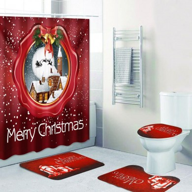 180x180cm Shower Curtain  Bathroom Christmas Snow House Set Mildew Splash Xmas Christmas Decoration