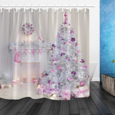 Christmas Tree Interior Xmas Fireplace in Pink Decorated Indoors Shower Curtain Bathroom Sets With Mat Bathroom Fabric For Batht