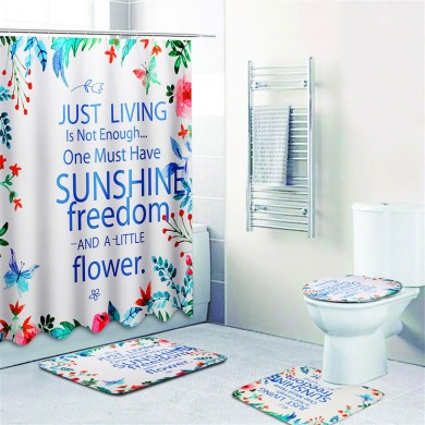 Sunshine Waterproof Bathroom Shower Curtain Toilet Cover Mat Non-Slip Rug Set
