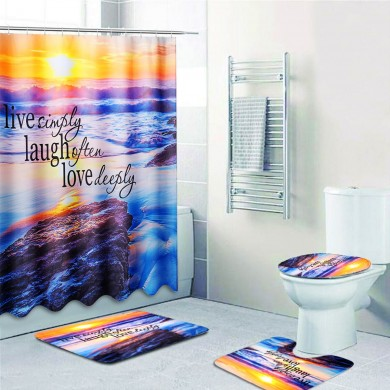Sandy Beach Waterproof Bathroom Shower Curtain Toilet Cover Mat Non-Slip Rug Set