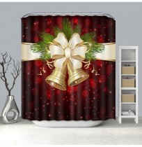 Christmas Bell Pattern Waterproof Bathroom Curtain Home Snowman Shower Curtain