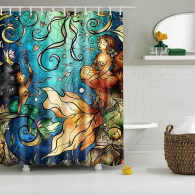 Waterproof Mermaid Scenery Pattern Fabric Shower Curtain Panel Sheer 180 x 180CM