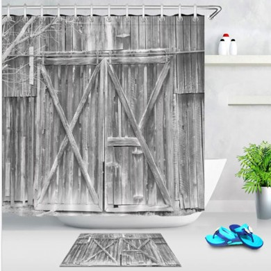 Waterproof Fabric Rustic Wood Shower Curtain Liner Bathroom Accessories Mat Hook