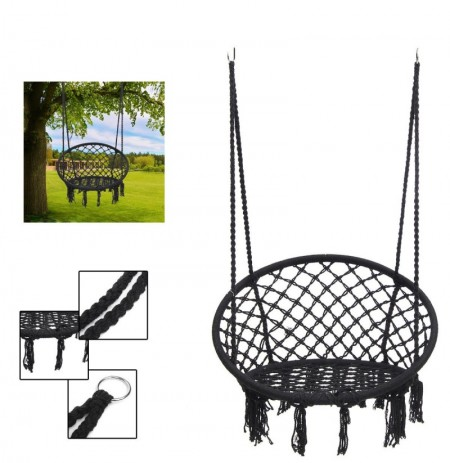 Outdoor Hanging Hammock Woven Rope Chair Seat Indoor Bedroom Children Round Swing Bed