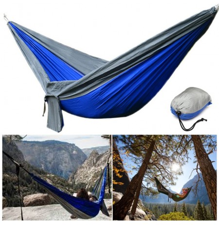 IPRee® 2Pcs Upgraded 270x140CM 210T Nylon Double Hammock Portable Swing Bed Max Load 250kg