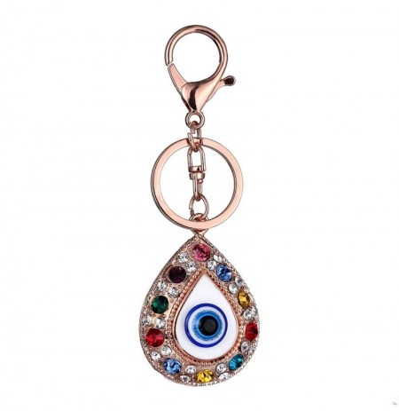 Vintage Crystal Blue Evil Eye Charm Keychain Rings Holder